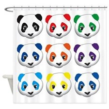 multi panda.png Shower Curtain
