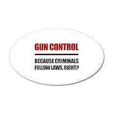 Gun Control 20x12 Oval Wall Decal