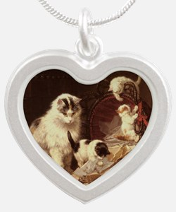 Vintage Cat Artwork Silver Heart Necklace