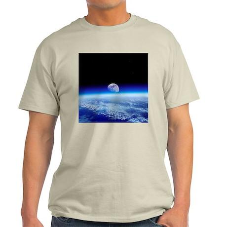 Moon rising over Earth's horizon - Light T-Shirt