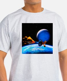 Spaceship arriving at a habitable planet - T-Shirt
