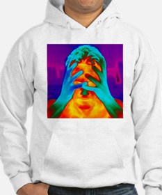Thermogram of a man's head and hands - Hoodie
