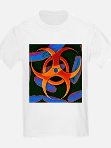 Anthrax bacteria and biohazard symbol - T-Shirt