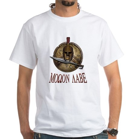 Molon Labe Spartan w Sword White T-Shirt