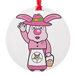 OES Easter Bunny Round Ornament