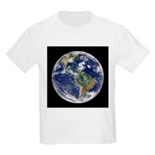 Earth with 5 hurricanes, satellite image - T-Shirt