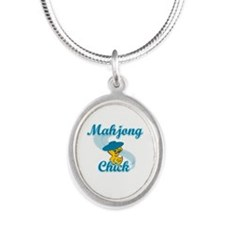 Mahjong Chick #3 Silver Oval Necklace
