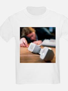 Unconscious woman lying near a telephone - T-Shirt