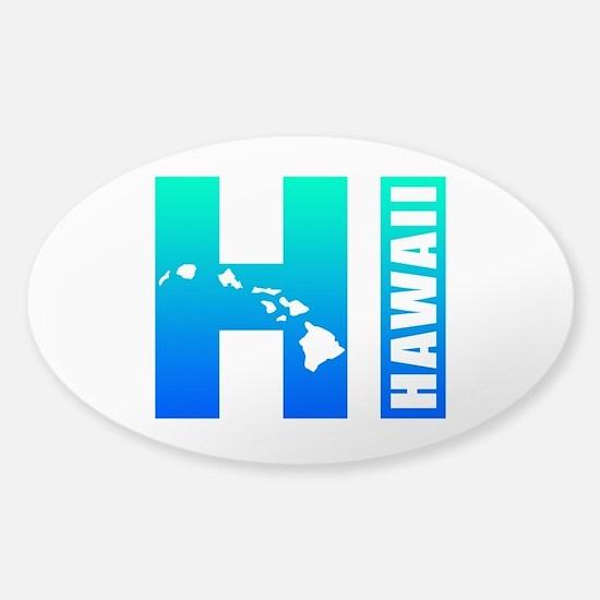 HAWAII Islands (Blue) Sticker (Oval)