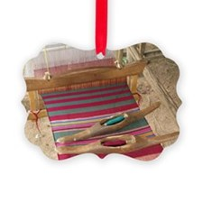 Various threads on weaving loom - Picture Ornament