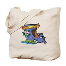 Louisiana Map Tote Bag