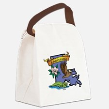 Louisiana Map Canvas Lunch Bag