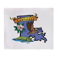 Louisiana Map Throw Blanket