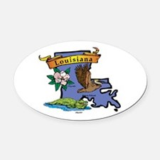 Louisiana Map Oval Car Magnet