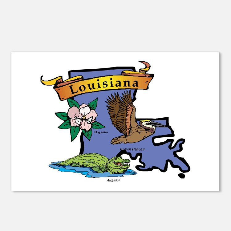 Louisiana Map Postcards (Package of 8)