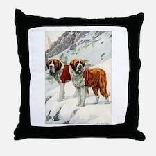 Alpine St. Bernards 1920 Throw Pillow