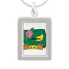 Iowa Map Silver Portrait Necklace