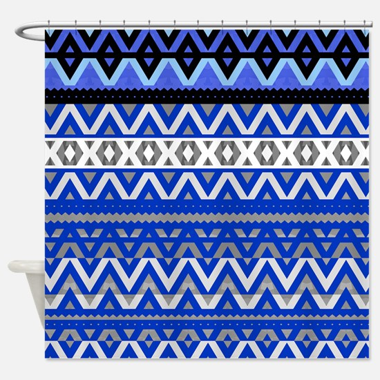 Mix #191 Detail- Blue Aztec, Shower Curtain