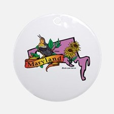 Maryland Map Ornament (Round)