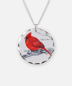 Cardinal Painting Necklace