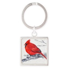Cardinal Painting Square Keychain