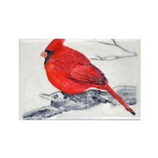 Cardinal Painting Rectangle Magnet