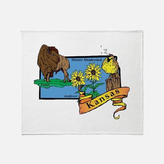 Kansas Map Throw Blanket