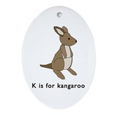 k is for kangaroo Ornament (Oval)