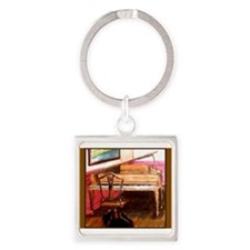 Federal Style Piano and chair Square Keychain