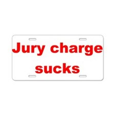 Jury charge sucks red.png Aluminum License Plate