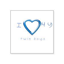 "I love my twin boys Square Sticker 3"" x 3"""