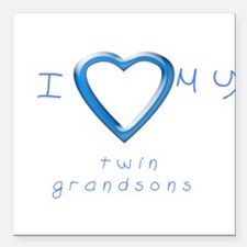 """I love my twin grandsons Square Car Magnet 3"""" x 3"""""""