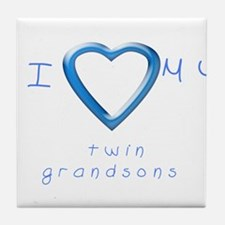 I love my twin grandsons Tile Coaster