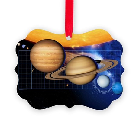 Planets and Sun with scale - Picture Ornament