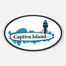 Captiva Island - Surf Design. Sticker (Oval)
