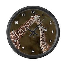 Giraffe Mom Baby Wood Clock.png Large Wall Clock