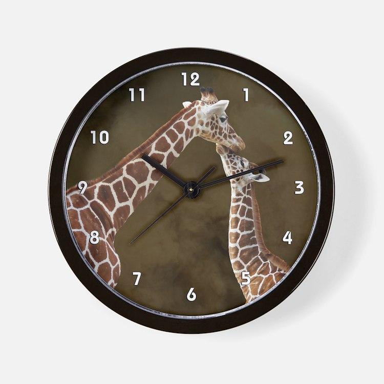 Giraffe Mom Baby Wood Clock.png Wall Clock