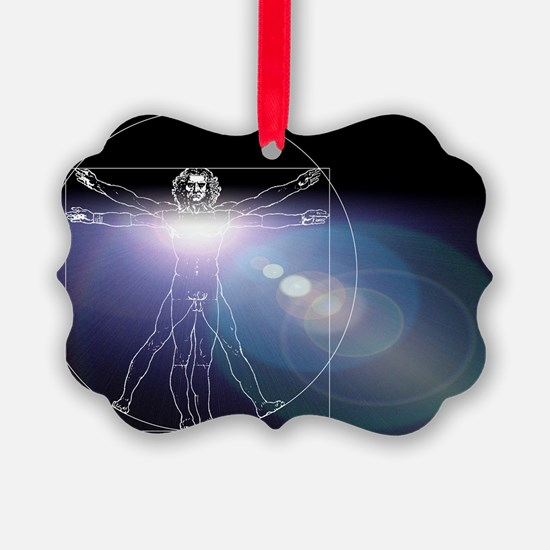 Vitruvian man with flare in chest - Ornament