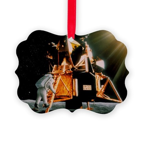Artwork of Armstrong descending Lunar Module steps