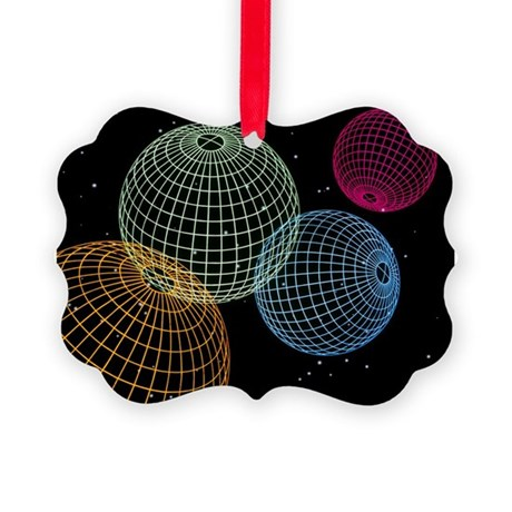 Computer graphics image of 4 wire-drawn spheres -