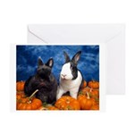 Tiny Tim and Dixie in Pumpkin Patch Greeting Card