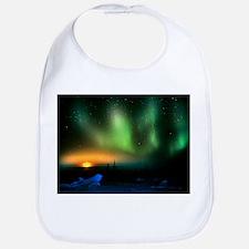 Aurora borealis display with setting Moon - Bib