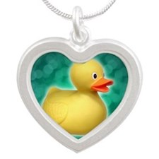 Rubber Duck on Green Bubbles Silver Heart Necklace