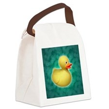 Rubber Duck on Green Bubbles Canvas Lunch Bag