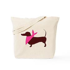 Modern Dachshund Pink Scarf Tote Bag