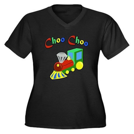 Choo Choo Women's Plus Size V-Neck Dark T-Shirt