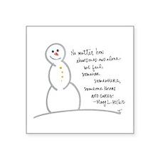 "Caring Snowman Square Sticker 3"" x 3"""