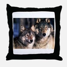 two wolf Throw Pillow