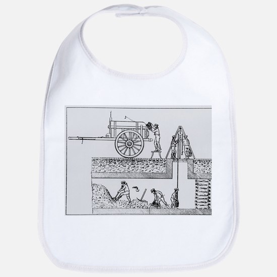 Artwork of workers cleaning out sewers - Bib