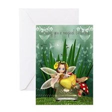 Modern Fairy Birthday Card With Fairy On Cell Phon
